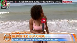 Sara Santos sensual no Reporter Boa Onda